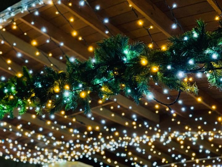 lights and christmas wreath