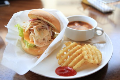 lunch time lattice fries soup burger ketchup