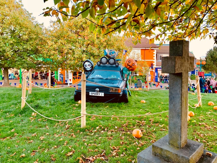 scarefest hearse parked up on grass