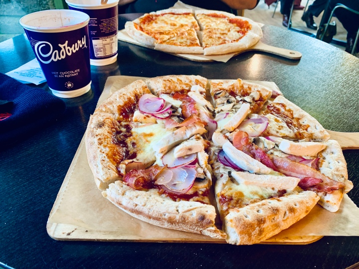 cadbury hot chocolate with bbq chicken pizza