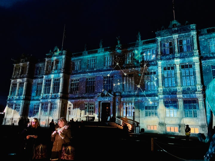 longleat house with star constellation projection